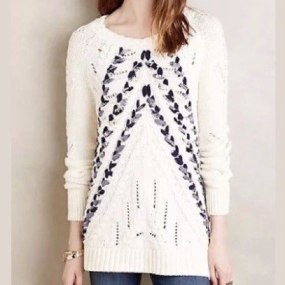 Anthropologie Sweaters - Anthro Knitted & Knotted Ribbon Weave Sweater